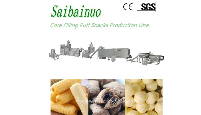 Centre Filled snacks Food Machine use different type grain flour as materials, such as wheat flour, ...