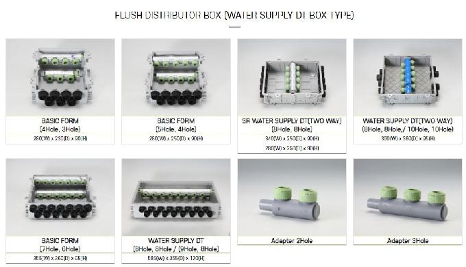 FLUSH DISTRIBUTOR BOX (WATER SUPPLY DT BOX TYPE) - BASIC FORM(4Hole, 3Hole) : 280(W) x 230(D) x 90(H...