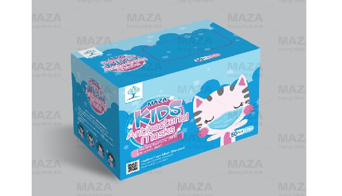 MAZA White Disposable Mask 3 Plys For Kids CE FDA ISO Certificate (50 pcs/box)