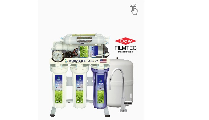 6 Stage water filter reverse osmosis RO removes up to 99% of bacteria, viruses, cysts, organics, che...