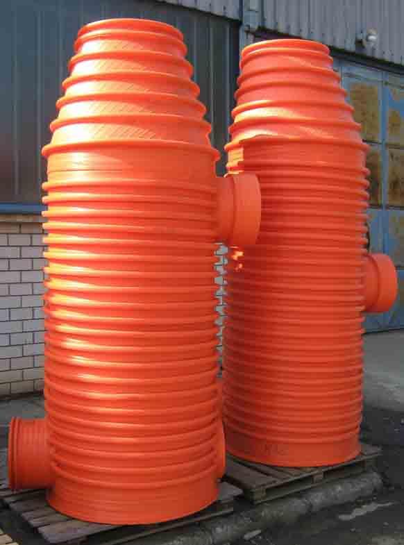 Plastic manholes for sewage.