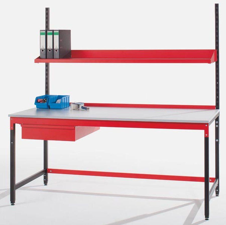 Komplett-Packstation mit Stahlschublade Modular aufgebautes Packtischsystem Komponenten an Tisch ada...
