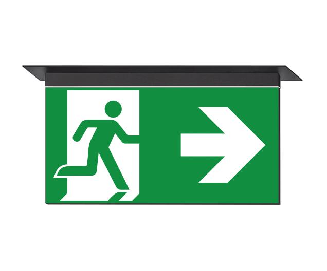 Luminarias de señalización y evacuación. Consta de un perfil de aluminio y una placa de señalización...