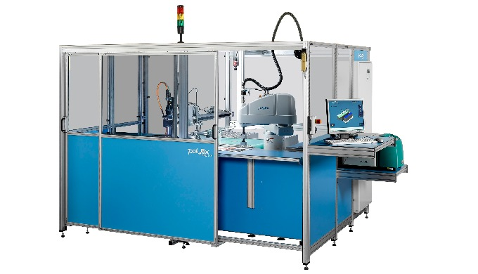 Robotic swatch card mounting machine type VB