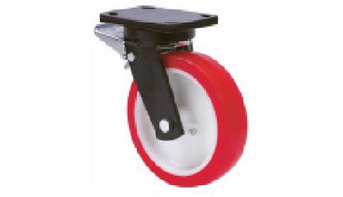 Ruedas con núcleo de nylon blanco y banda de poliuretano rojo dureza 90-95º shore A. Indicada para s...