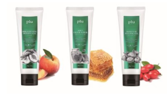 plu facial scrub (brightening peeling gel peach, moisture peeling gel rosehip oil, soft facial scrub honey&sugar)