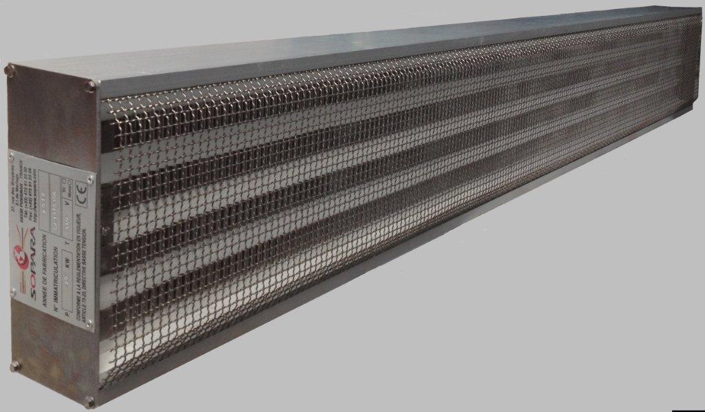 Die Infrarot-Strahler mit mittelwelligen Strahlern (Wellenlänge 2.6 Mikron) bestehen aus: Heizeinsch...