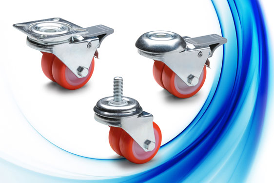 The Elesa RE.C6-G twin polyurethane wheeled castors provide a low height installation with more than...