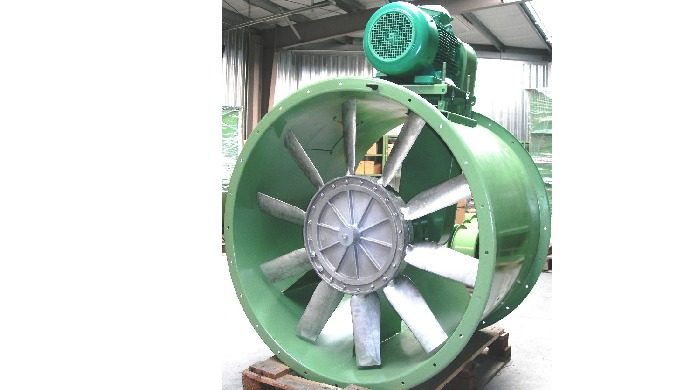 Ducted double flanged axial fan