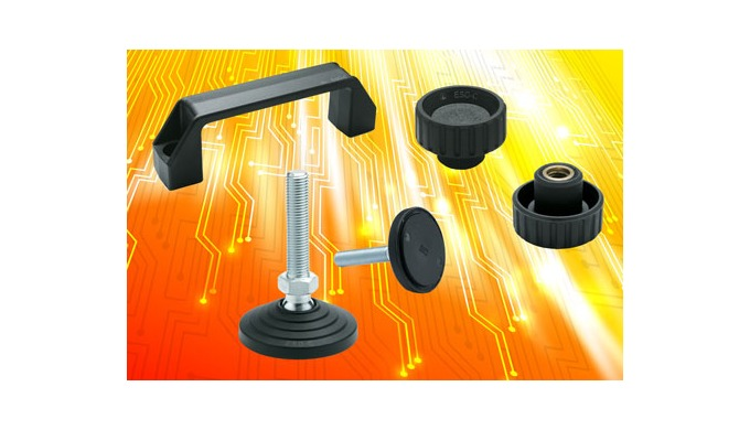 ESD grip knobs, bridge handles and levelling feet from Elesa prevent build-up of dangerous static ch...
