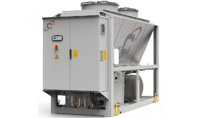 Refrigeratore di liquido condensato ad aria, progettato per il raffreddamento di applicazioni indust...