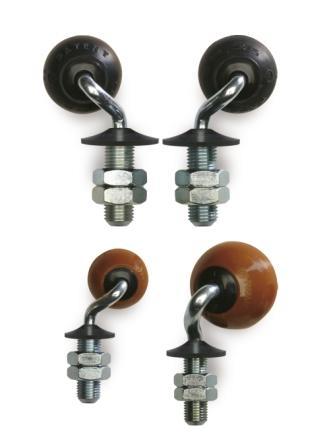 Bolwielen in elastische natuurrubber en polyurethaan, ideaal voor transporttafels in de glasindustri...