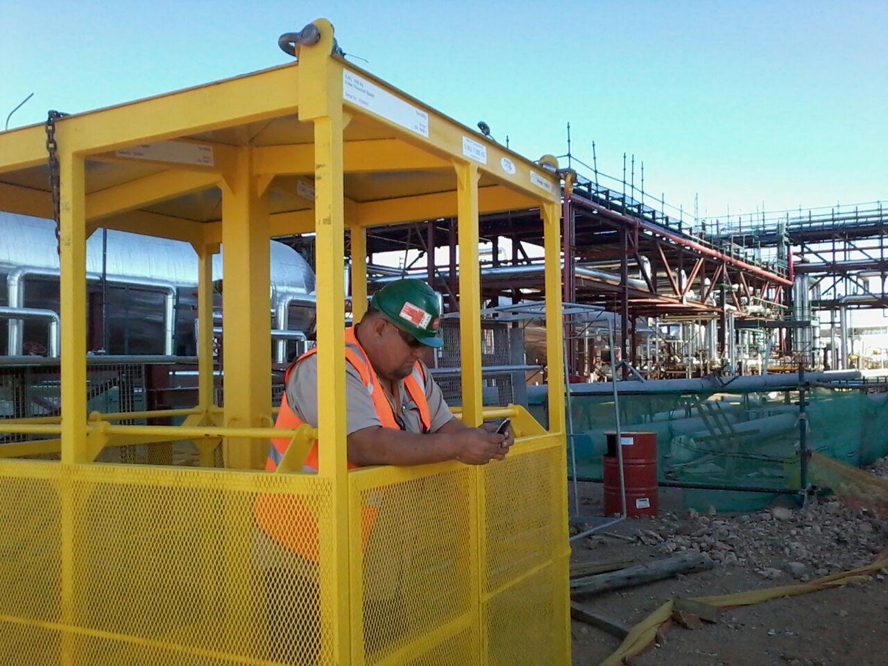 Man Cages  - Designed, Manufactured, Certified  Load tested  Fastlift Cranes  Service
