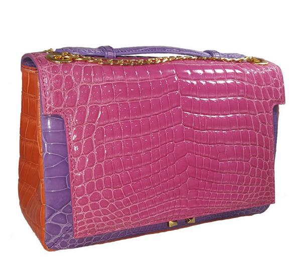 Luxury samll Handbag for Women Leather : Crocolylus Niloticus Color : Pink, Paloma, and Salmon Size ...