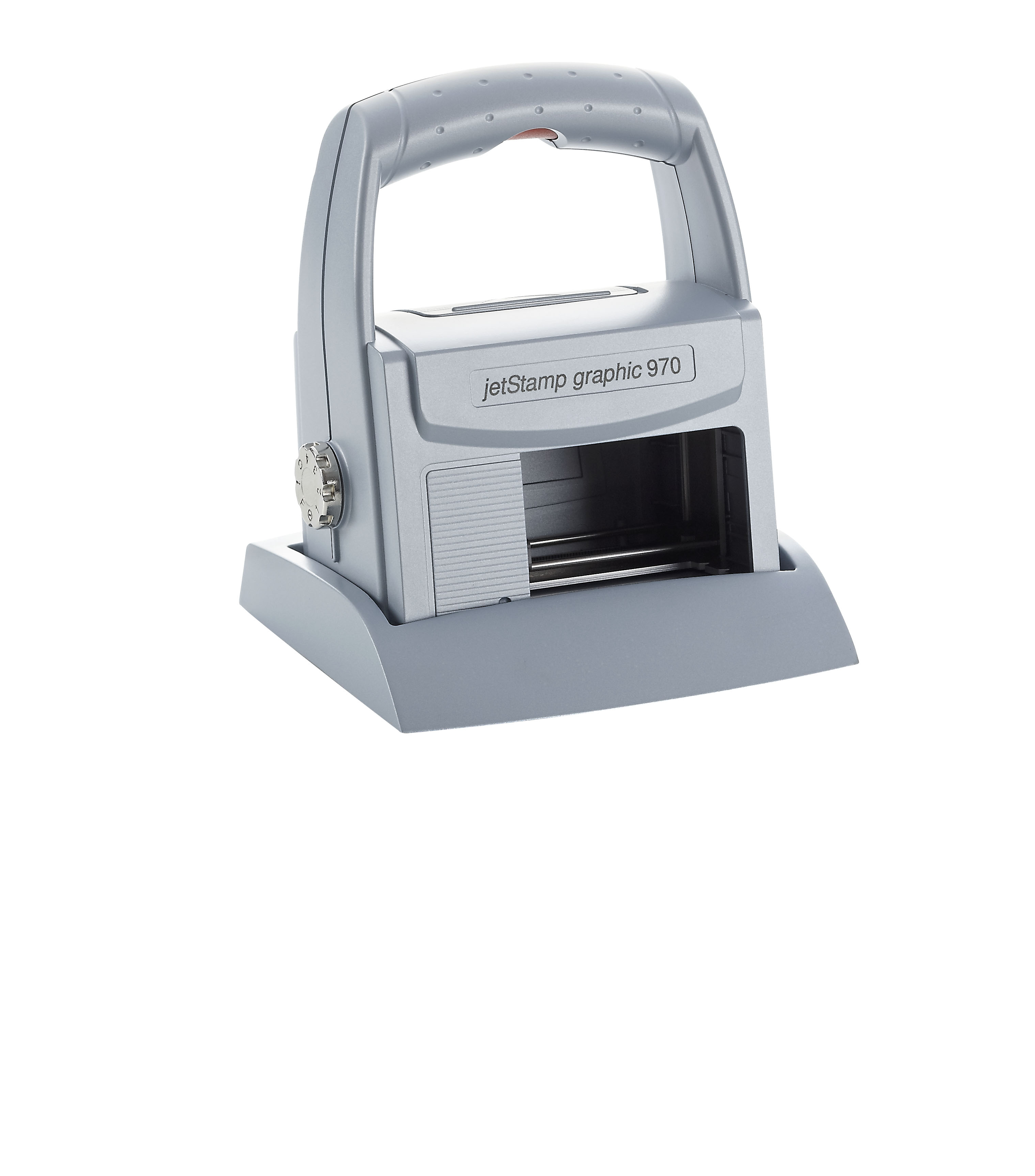 De jetStamp graphic 970 is een met de hand te bedienen inktjetstempel die documenten en producten sn...