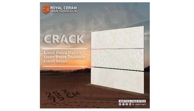 Size: 25x75cm Color: Light Beige Decor: Diamond / Crack Decor Type: Wall tiles