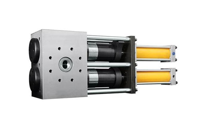 Double piston continuous hydraulic screen changer Double piston continuous hydraulic screen changer ...