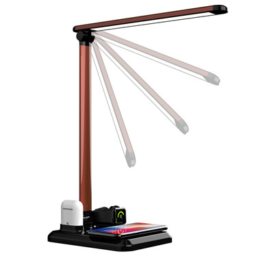 LED Desk Lamp With 10W 4 In 1 Fast Qi Wireless Charger Stand For Apple Phone Airpods iWatch