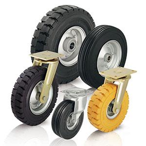 Schwerlasträder und Schwerlastrollen mit zähhartem, stahldrahtarmiertem Reifenfuß. Als weitere Varia...