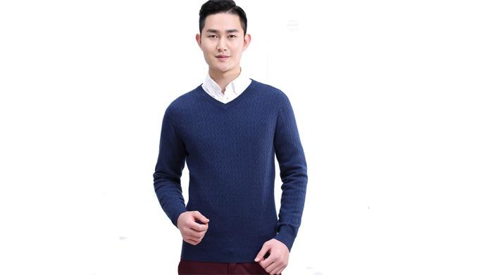 Wholesale Mens Custom V Neck Cashmere Sweater In Navy, Grey