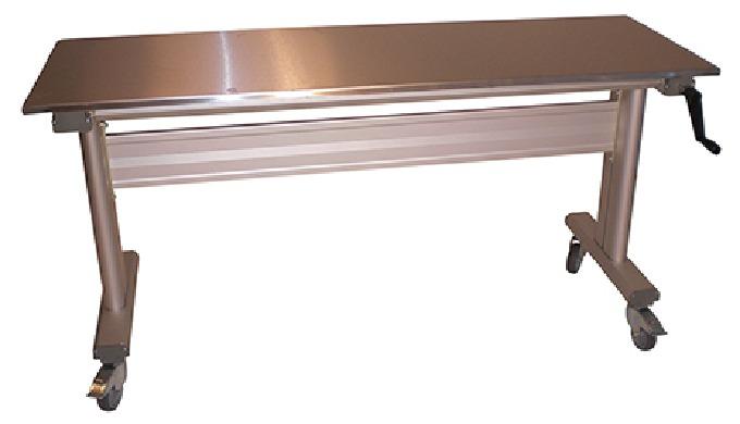 Table ergonomique en Inox Réglage par manivelle Equipée de 4 roues ou de 4 vérins