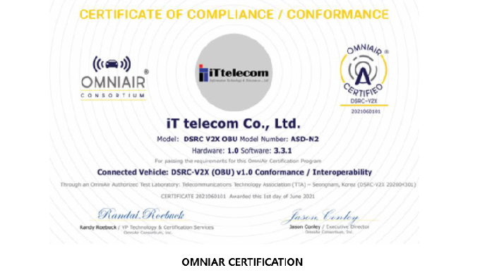 First U.S. OMNIAIR certified v2x equipment in Korea. Focus on C-ITS service performance