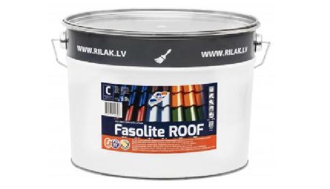 Atmosfēras izturīga krāsa jumtam FASOLITE ROOF. Krāsa paredzēta dažādu tipu šīfera un dakstiņu krāso...