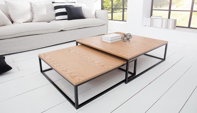 Table basse design Samantha blanc/chêne