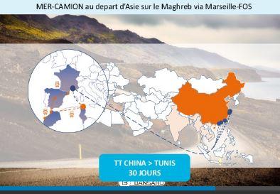 Solution transport combiné: SEA-TRUCK au départ de l'Asie sur le Maghreb via MARSEILLE-FOS