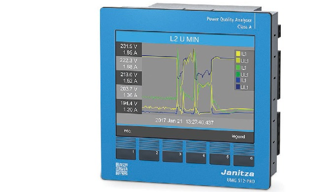 Power Quality Analyzer, Class A with Multi-Colour Display Measurement of Harmonics up to the 63rd fo...