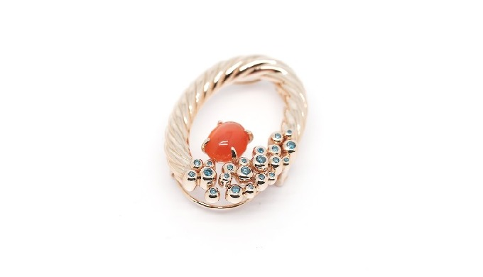 18K Rose Gold Carnelian, blue Diamonds Pendant&Brooch pin